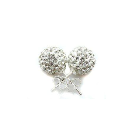 Кръгли Обеци с бели камъни