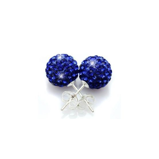 Кръгли Обеци със сини камъни