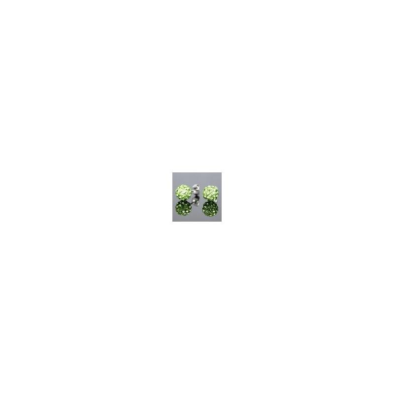 Кръгли Обеци със зелени  Камъни